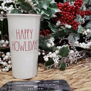 HTF NWT Rae Dunn HAPPY HOWLIDAYS Red Lid